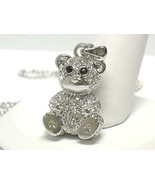 White Gold Plating Swarovski Crystal Stud Bear Pendant Necklace  - $16.00