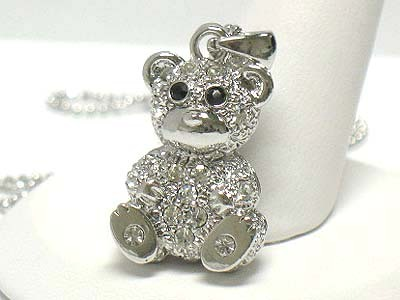 White Gold Plating Swarovski Crystal Stud Bear Pendant Necklace