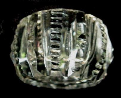 4 Antique Cut Glass Crystal Salt Dip Set Zipper Vintage