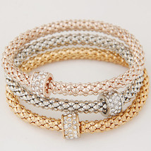 LEMOER 3PCS Hot Fashion Gold Silver Rose Gold Color Metal Chain Crystal Round Ci - $13.23