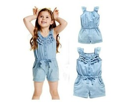Kids Overalls Baby Girl Casual Washed Jeans Sleeveless Bowknot jumpsuit - $10.00