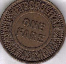 METROPOLITAN TRANSIT AUTHORITY One Fare Token - $3.95