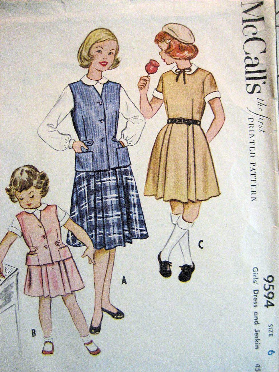 McCalls 9594 Vintage 40s Girls 6 Dress Uniform Vest Skirt Rare Used