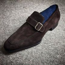Handmade Men's Chocolate Brown Suede Monk Strap Shoes image 1