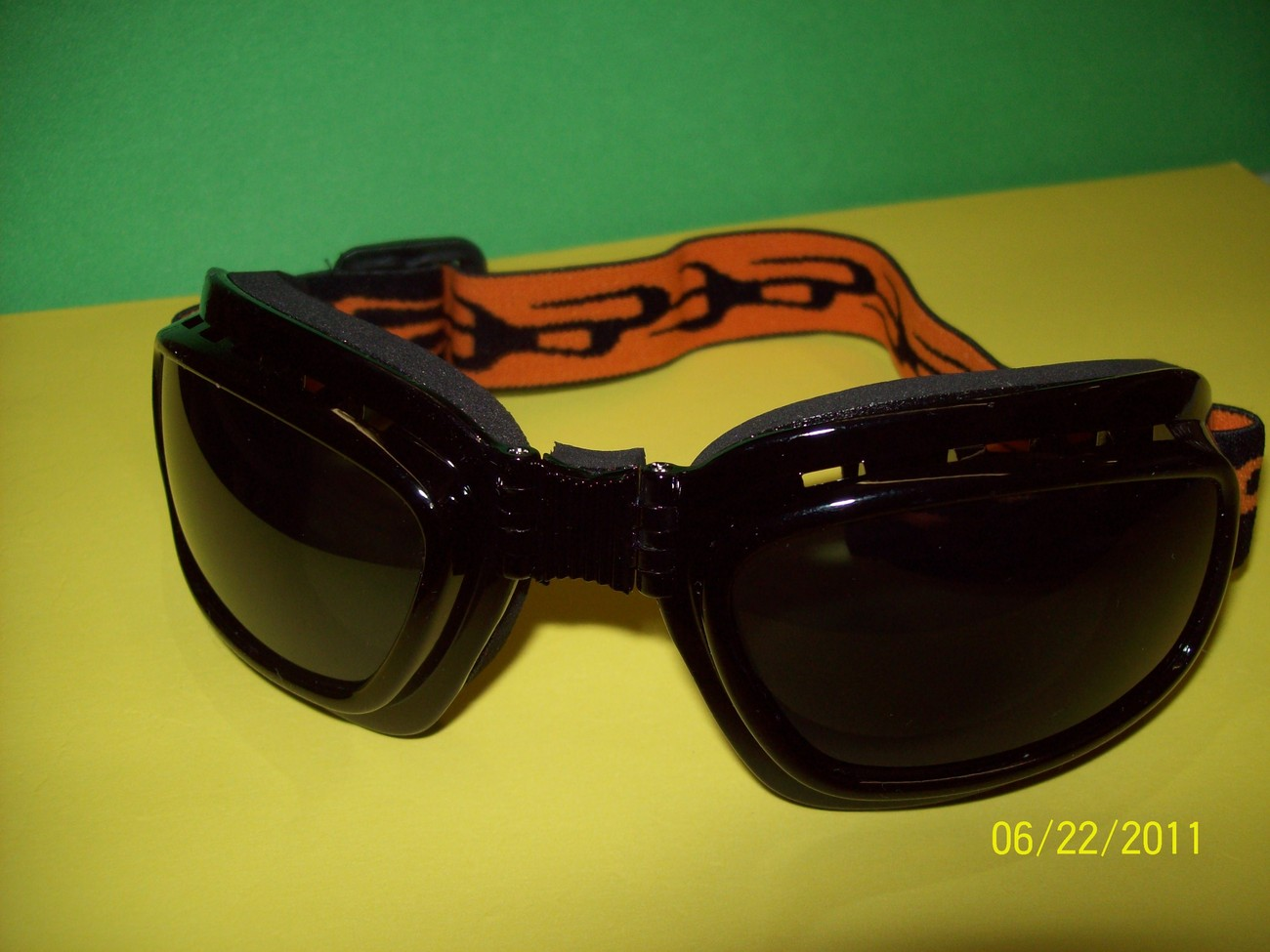 Tinted Vented Biker Riding Goggles w/adj. Elastic Strap  Foldable