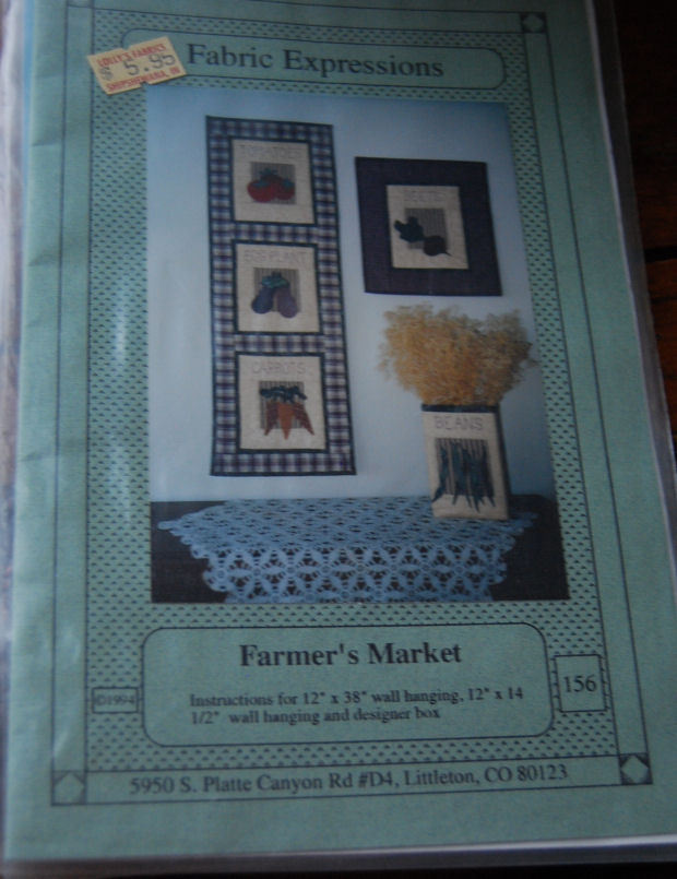 "Pattern  ""Farmer's Market"" 2 Vegetable Wall Hangings and Box"