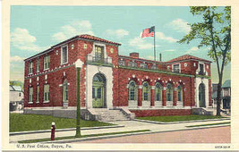 The Post Office Sayre Pennsylvania Linen Era Post Card - $3.00