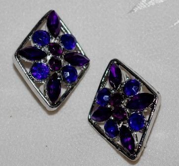 Purple crystal brooch pair