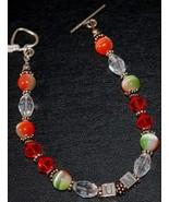 UM Green & Orange Hurricane Beaded Crystal Bracelet with U of M Silver L... - $18.95