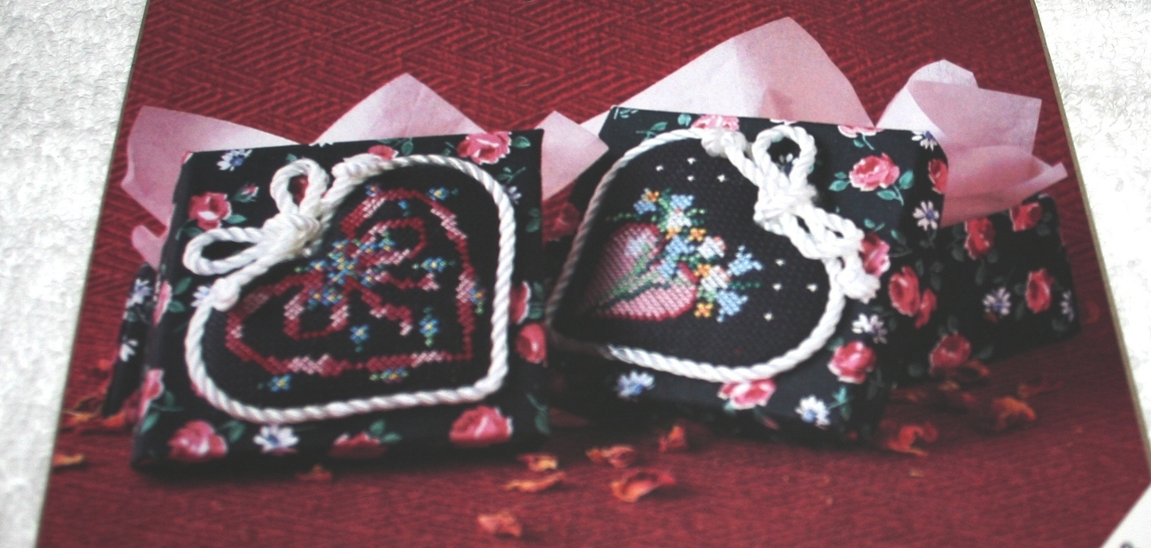 Designs For The Needle~Floral Hearts Fabric Boxes~set of 2