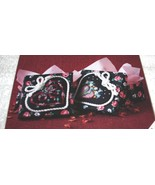Designs For The Needle~Floral Hearts Fabric Boxes~set of 2 - $5.15