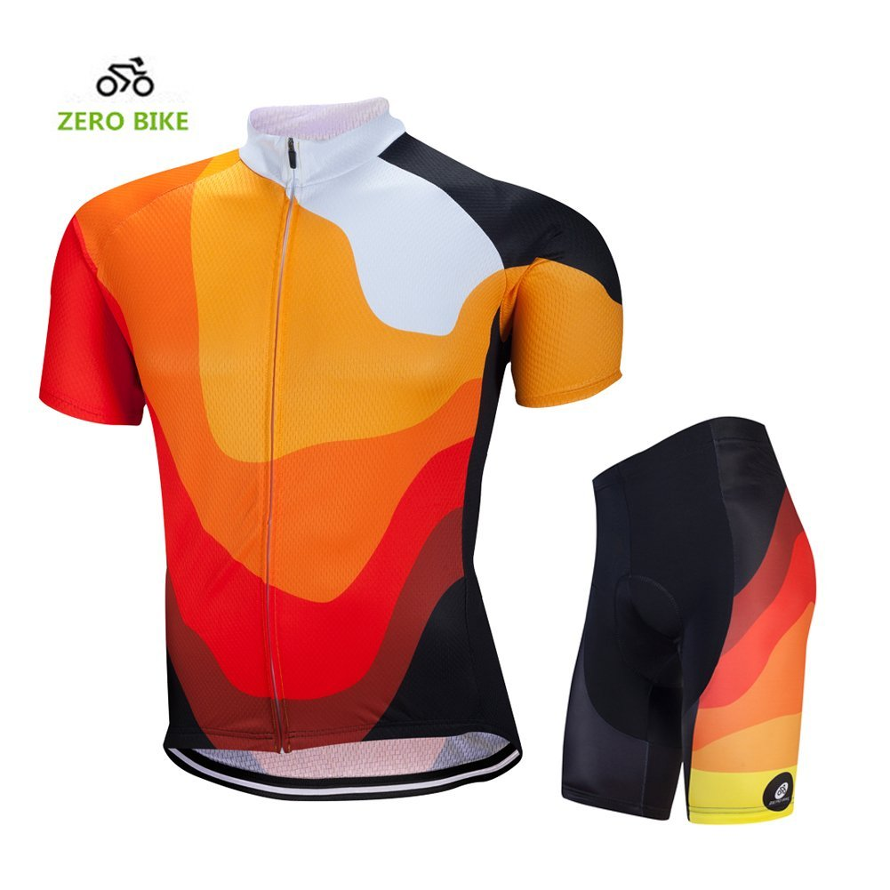 Primary image for ZEROBIKE Men's Short Sleeve Breathable Cycling Jersey Padded Pant Outdoor Sports