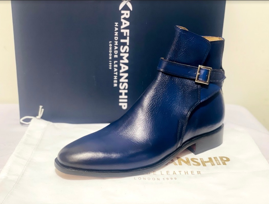 Handmade Men's Blue High Ankle Monk Strap Leather Boot