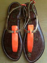 NEW! Sam Edelman GIGI Thong Bright Orange Sexy Flats Sandals 8.5 M $70 - $44.00