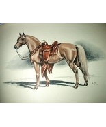 Palamino Horse-Colored Lithograph-Edwin Megargee-Signed-Vint - $52.00