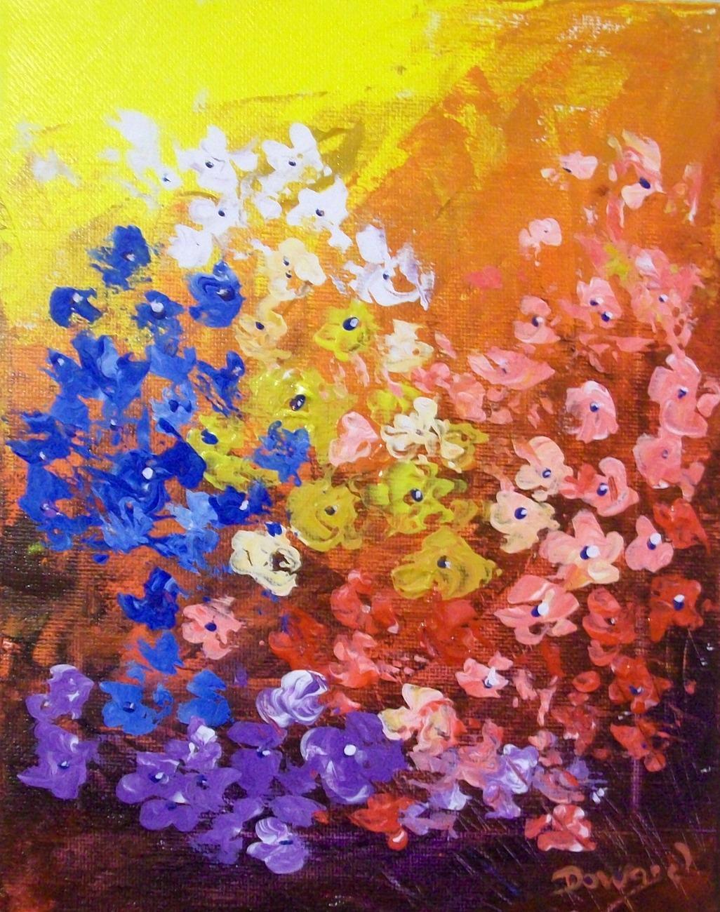 Palette knife acrylic florals 004