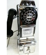 Automatic Electric Chrome Pay Telephone 3 Coin Slot 1960's Rotary Dial - $895.00