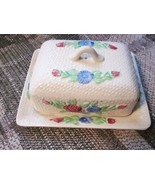 Vintage Ceramic Butter Dish Set with Flowers  - $26.99