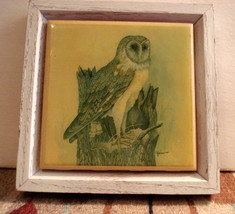 Kimberly Graphic Art Tile Barn Owl Wood Frame Artist Signed E. Rambow - $12.99