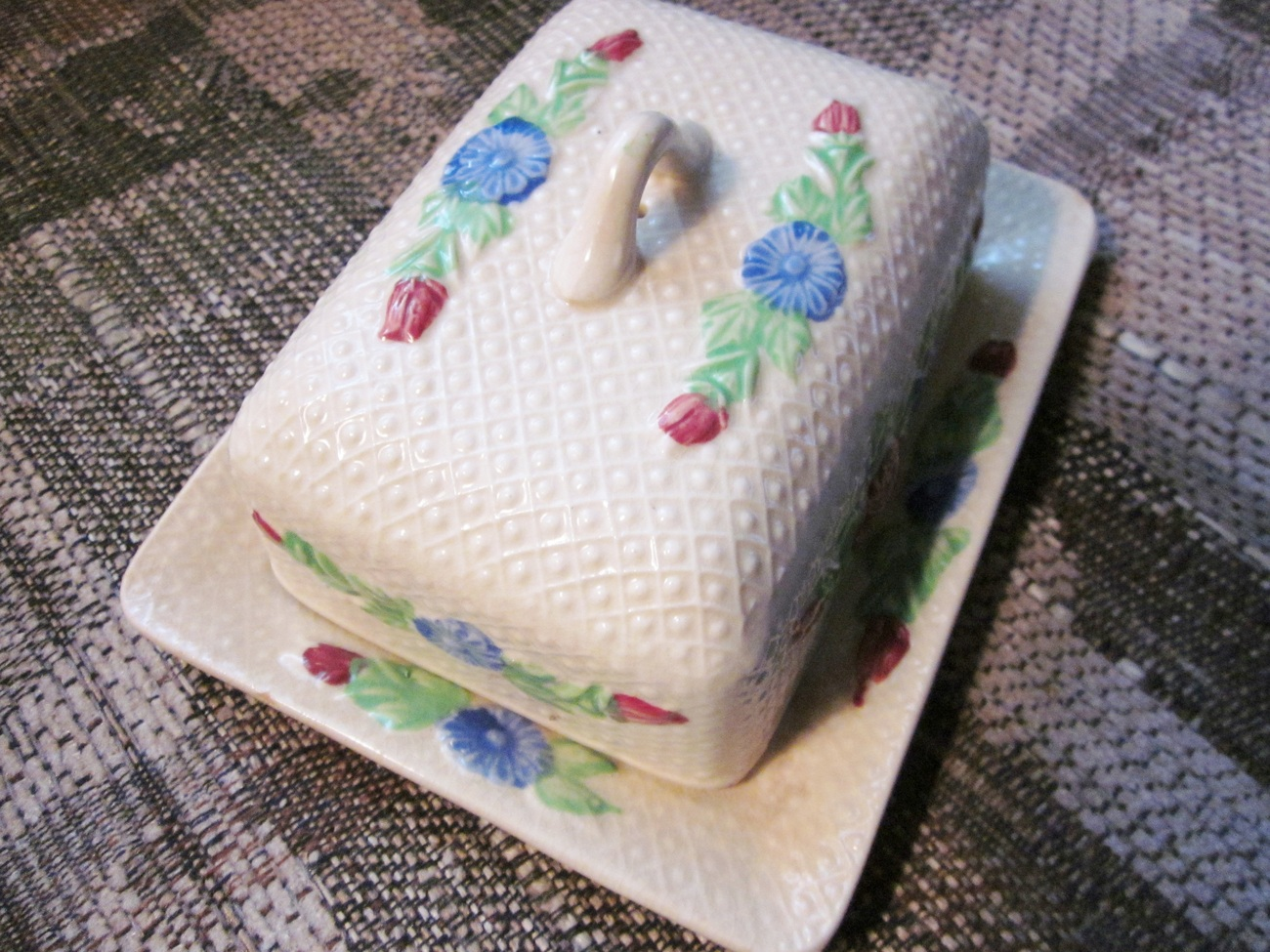 Vintage Ceramic Butter Dish Set with Flowers