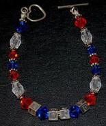 UF Blue & Orange Gators Crystal Bead & S925 Silver Letter Bracelet w Hea... - $24.95