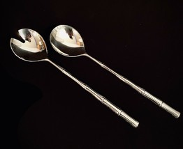 2 Piece Salad Serving Set Silverplate Spoon Fork Bamboo Design Handle 11... - $12.87
