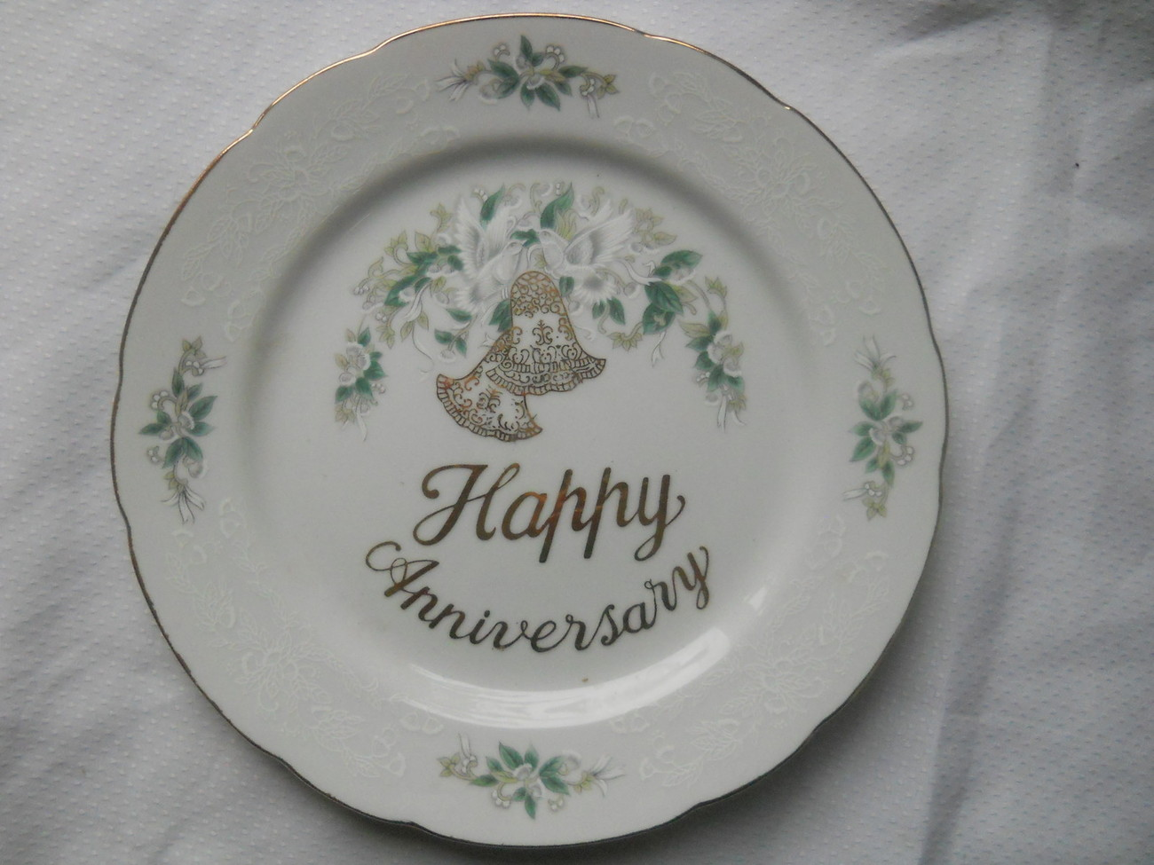 Lefton China Hand Painted Happy Anniversary Plate Gold Trim Doves Bells Flowers - $16.99