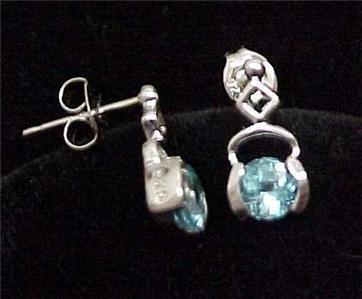 Genuine 925 Sterling Silver Blue Topaz Drop Earrings