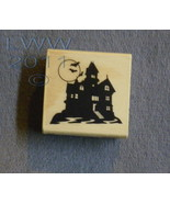 Wood-mounted Halloween Haunted House Bat Rubber Stamp scrapbooking - $3.95