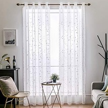 MIULEE 2 Panels Leaves Embroidered Sheer Window Curtains Beautiful Elega... - $29.79
