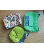 Lot of 3 Insulated Small Lunch Purse Bags Bright Colorful Zipper Shoulde... - $24.49