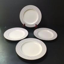 "4 Salad Plates Pinwheel Intaglio Mikasa 8.25"" Blue Pink Grey - $14.50"