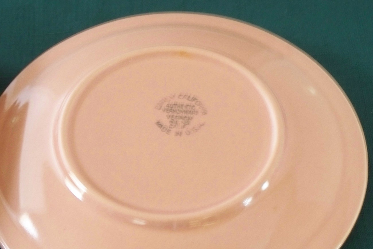 Vernon Kilns Early California Pink Saucers VGC Set Of 4