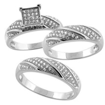 3/4 Ct Micro Pave Diamond 925 Sterling Silver Trio Wedding Ring Set His & Hers - $176.20