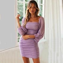 Women's Sexy Pleated Lavender Chiffon Bodycon Summer Dress