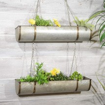 Metal Hanging Planter Two Tiered Rustic Metal Planter Set Hanging by Chain - $99.95