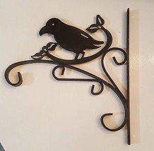 "Black Wrought Iron Plant Hanger Bird Feeder Bracket Decor Sturdy 12"" Dou... - $39.40 CAD"