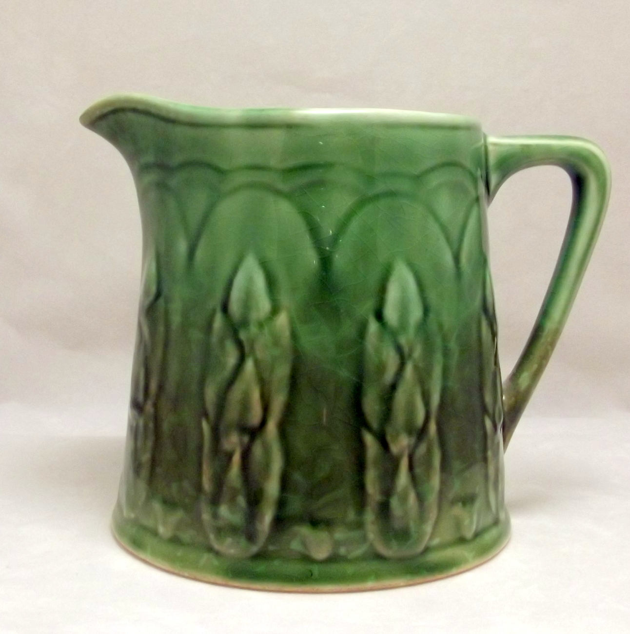 Arts and crafts mission era green ceramic pitcher 1920s for Arts and crafts pottery makers