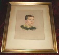 Framed Portrait Signed Kerr Color Pencil Drawing Paint - $450.00
