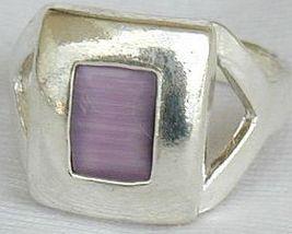 Purple cat eye silver ring - $20.00