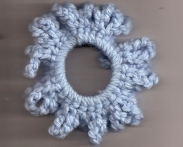 Blue Crochet Ponytail Holder Handcrafted Stretch Elastic - $2.50