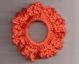 Orange Crochet Ponytail Holder Handcrafted Stretch Elastic - $2.50