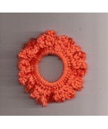 Orange Crochet Ponytail Holder Handcrafted Stretch Elastic - $2.50