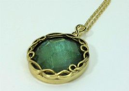 Emerald Green Facted Round Acrylic Gold Tone Necklace 29 inch - £14.83 GBP