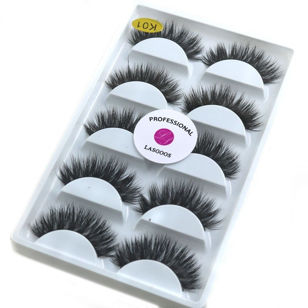 Primary image for 3D Real Mink False Eyelashes LASGOOS 100% Siberian Mink Fur Luxurious Wispy Natu