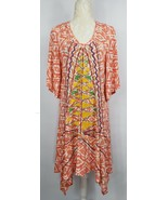 Anthropologie Uncle Frank Womens XS Orange Yellow Embroidered Short Slee... - $36.35
