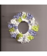 Blue Green Cream Crochet Ponytail Holder Handcrafted Stretch - $2.50