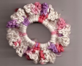 Pink Purple Cream Crochet Ponytail Holder Handmade Stretch  - $2.50