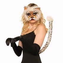 Deluxe Leopard Mask & Tail Plush Kit Adult Halloween Costume Accessory - $23.05