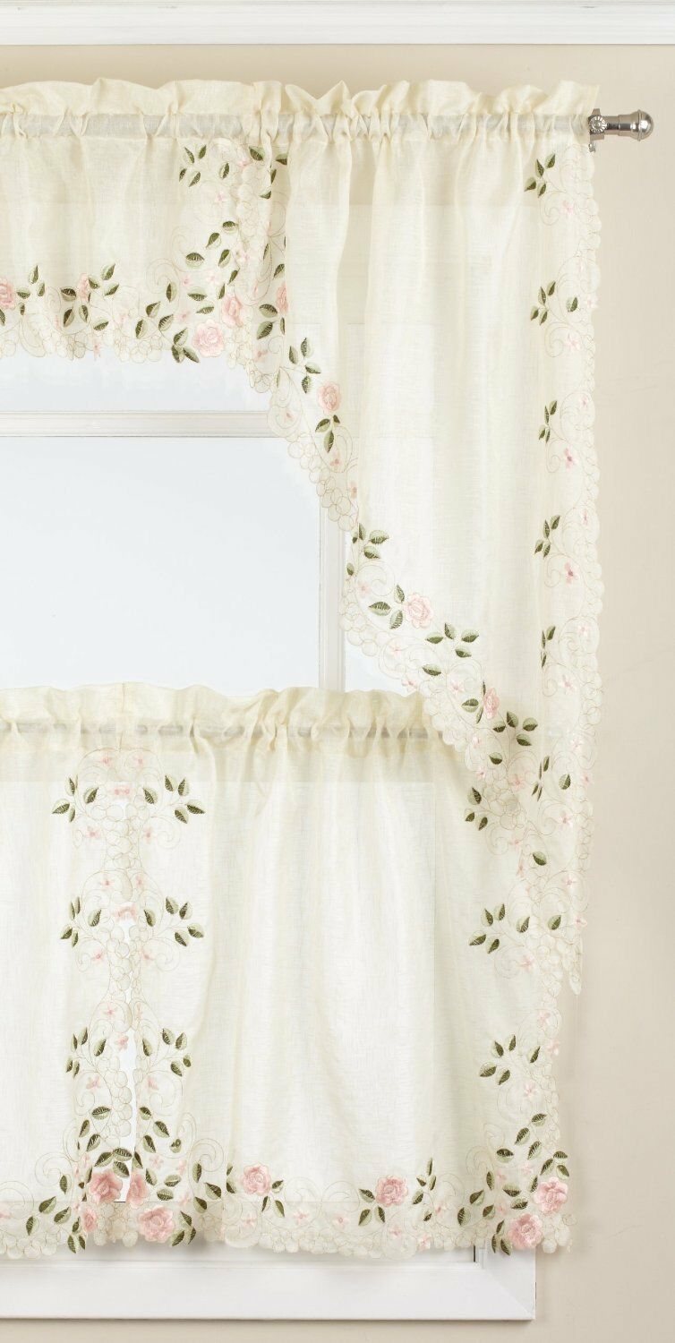 Primary image for ROSEMARY EMBROIDERED CAFE CURTAINS
